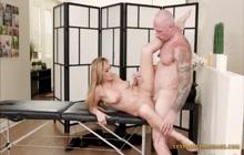 Curvy sweet blonde fucking on massage table