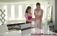 Masseuse scissors oiled and rubbed teen