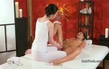 Daphne Angel giving a hot massage to Amanda Black