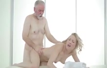 Beautiful young blonde fucks old man