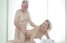 Petite blonde fucks old guy