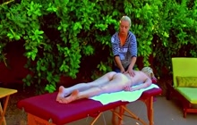 Naked outdoor massage