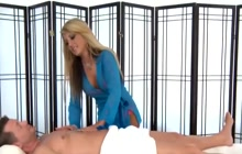 Beautiful blonde gives a massage